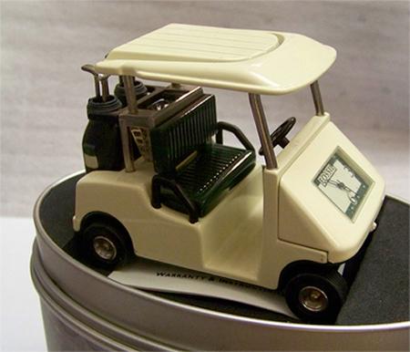 Fossil Golf Cart Desk Clock Vintage Novelty Le Collectible